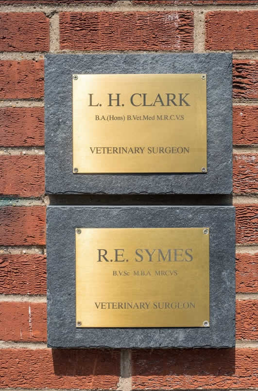 plaques at Pinfold Vets